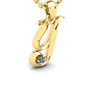 Diamond Accent Y Swirly Initial Necklace In 14K Yellow Gold With Free 18 Inch Cable Chain
