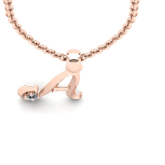 Diamond Accent A Swirly Initial Necklace In 14K Rose Gold With Free 18 Inch Cable Chain