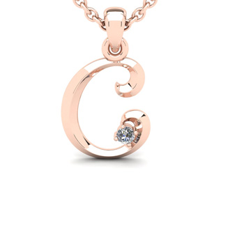 Diamond Accent C Swirly Initial Necklace In 14K Rose Gold With Free 18 Inch Cable Chain