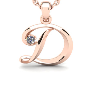 Diamond Accent D Swirly Initial Necklace In 14K Rose Gold With Free 18 Inch Cable Chain