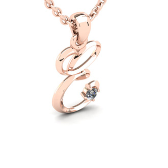 Diamond Accent E Swirly Initial Necklace In 14K Rose Gold With Free 18 Inch Cable Chain