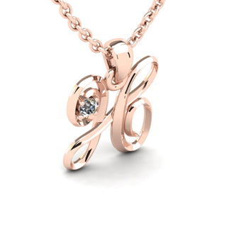 Diamond Accent H Swirly Initial Necklace In 14K Rose Gold With Free 18 Inch Cable Chain