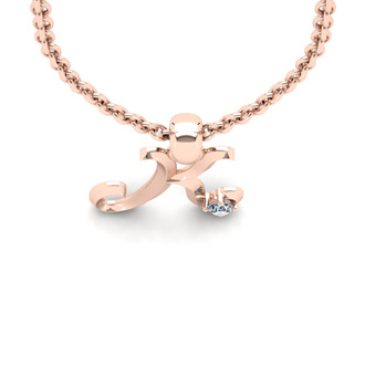 Diamond Accent K Swirly Initial Necklace In 14K Rose Gold With Free 18 Inch Cable Chain