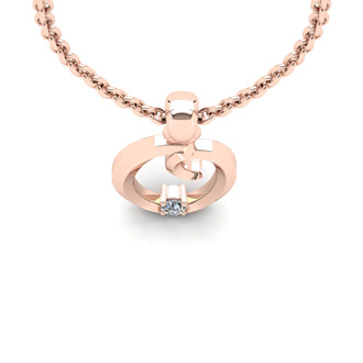 Diamond Accent O Swirly Initial Necklace In 14K Rose Gold With Free 18 Inch Cable Chain