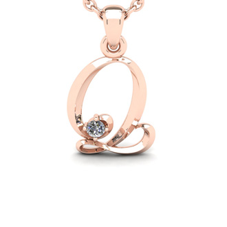 Diamond Accent Q Swirly Initial Necklace In 14K Rose Gold With Free 18 Inch Cable Chain