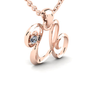 Diamond Accent U Swirly Initial Necklace In 14K Rose Gold With Free 18 Inch Cable Chain