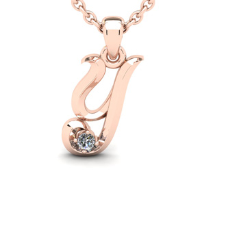 Diamond Accent Y Swirly Initial Necklace In 14K Rose Gold With Free 18 Inch Cable Chain