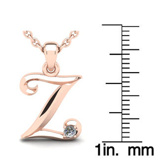 Diamond Accent Z Swirly Initial Necklace In 14K Rose Gold With Free 18 Inch Cable Chain