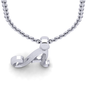 A Swirly Initial Necklace In Heavy White Gold With Free 18 Inch Cable Chain