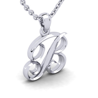 B Swirly Initial Necklace In Heavy White Gold With Free 18 Inch Cable Chain