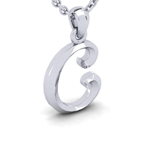 C Swirly Initial Necklace In Heavy White Gold With Free 18 Inch Cable Chain