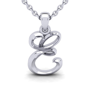 E Swirly Initial Necklace In Heavy White Gold With Free 18 Inch Cable Chain
