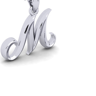 M Swirly Initial Necklace In Heavy White Gold With Free 18 Inch Cable Chain