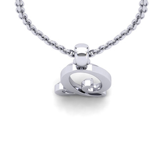 Q Swirly Initial Necklace In Heavy White Gold With Free 18 Inch Cable Chain