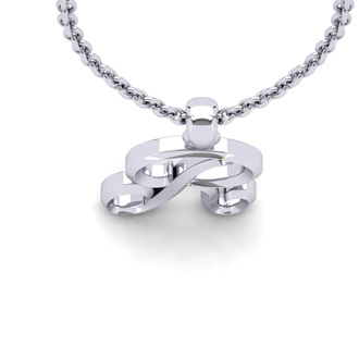 R Swirly Initial Necklace In Heavy White Gold With Free 18 Inch Cable Chain