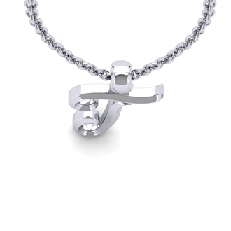 T Swirly Initial Necklace In Heavy White Gold With Free 18 Inch Cable Chain