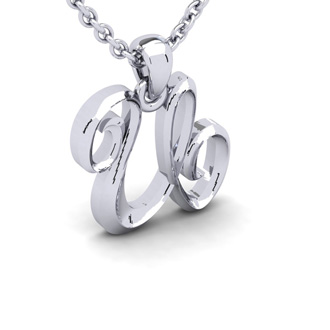 U Swirly Initial Necklace In Heavy White Gold With Free 18 Inch Cable Chain