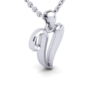 V Swirly Initial Necklace In Heavy White Gold With Free 18 Inch Cable Chain