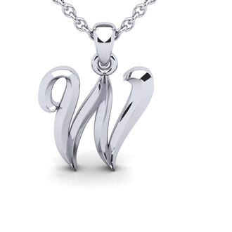 W Swirly Initial Necklace In Heavy White Gold With Free 18 Inch Cable Chain
