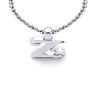 Z Swirly Initial Necklace In Heavy White Gold With Free 18 Inch Cable Chain