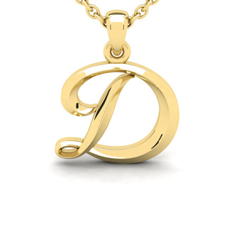 D Swirly Initial Necklace In Heavy Yellow Gold With Free 18 Inch Cable Chain