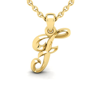 F Swirly Initial Necklace In Heavy Yellow Gold With Free 18 Inch Cable Chain