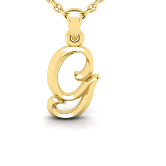 G Swirly Initial Necklace In Heavy Yellow Gold With Free 18 Inch Cable Chain