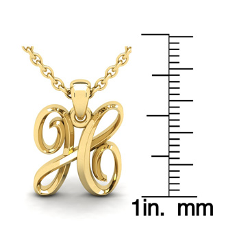 H Swirly Initial Necklace In Heavy Yellow Gold With Free 18 Inch Cable Chain