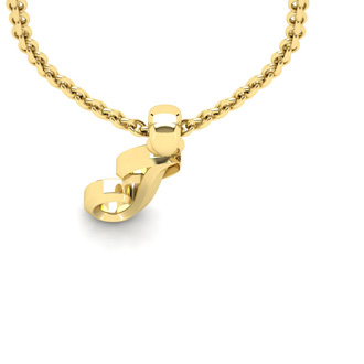 J Swirly Initial Necklace In Heavy Yellow Gold With Free 18 Inch Cable Chain