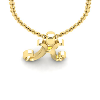 K Swirly Initial Necklace In Heavy Yellow Gold With Free 18 Inch Cable Chain