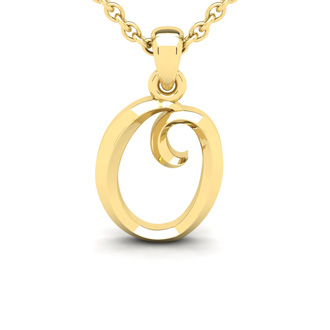 O Swirly Initial Necklace In Heavy Yellow Gold With Free 18 Inch Cable Chain