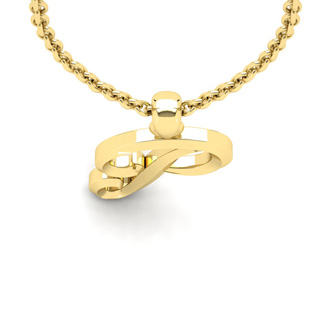 P Swirly Initial Necklace In Heavy Yellow Gold With Free 18 Inch Cable Chain