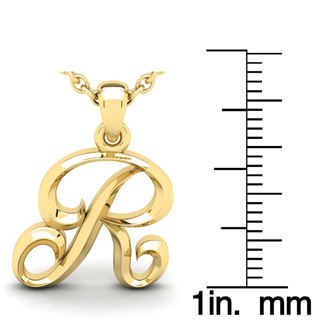 R Swirly Initial Necklace In Heavy Yellow Gold With Free 18 Inch Cable Chain