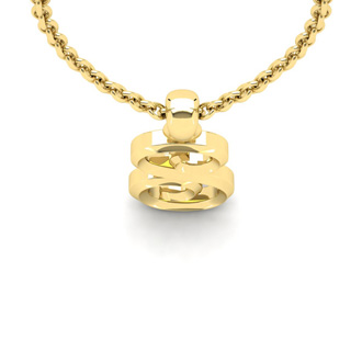 S Swirly Initial Necklace In Heavy Yellow Gold With Free 18 Inch Cable Chain
