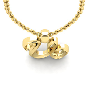 U Swirly Initial Necklace In Heavy Yellow Gold With Free 18 Inch Cable Chain