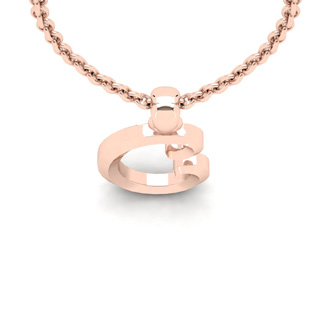 C Swirly Initial Necklace In Heavy Rose Gold With Free 18 Inch Cable Chain