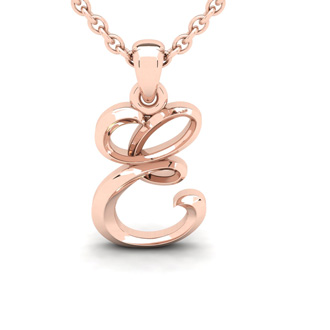 E Swirly Initial Necklace In Heavy Rose Gold With Free 18 Inch Cable Chain