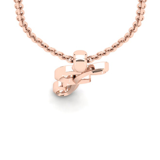 F Swirly Initial Necklace In Heavy Rose Gold With Free 18 Inch Cable Chain