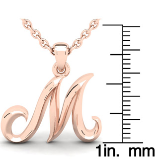 M Swirly Initial Necklace In Heavy Rose Gold With Free 18 Inch Cable Chain
