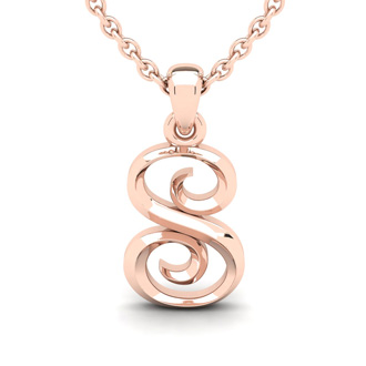 S Swirly Initial Necklace In Heavy Rose Gold With Free 18 Inch Cable Chain
