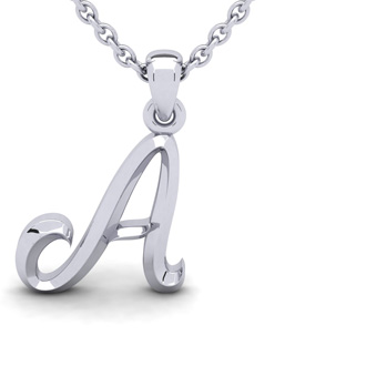 A Swirly Initial Necklace In Heavy 14K White Gold With Free 18 Inch Cable Chain