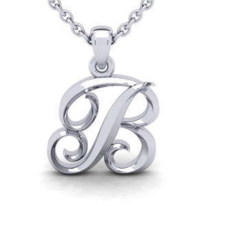 B Swirly Initial Necklace In Heavy 14K White Gold With Free 18 Inch Cable Chain