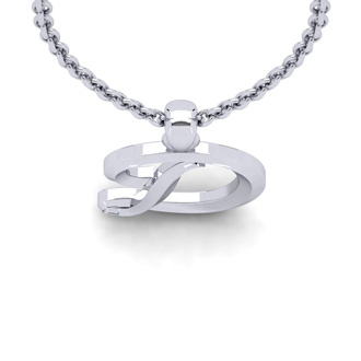 D Swirly Initial Necklace In Heavy 14K White Gold With Free 18 Inch Cable Chain