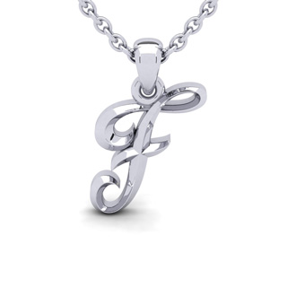 F Swirly Initial Necklace In Heavy 14K White Gold With Free 18 Inch Cable Chain