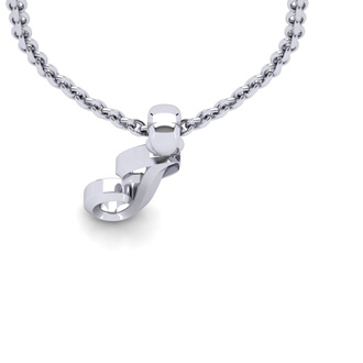 J Swirly Initial Necklace In Heavy 14K White Gold With Free 18 Inch Cable Chain