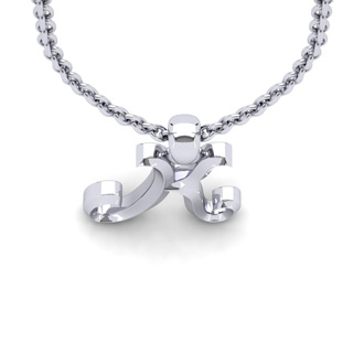 K Swirly Initial Necklace In Heavy 14K White Gold With Free 18 Inch Cable Chain