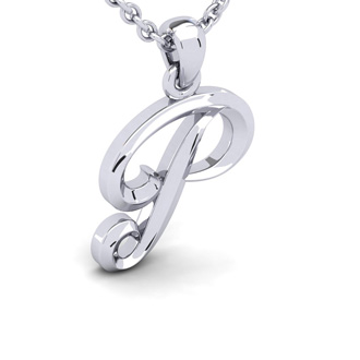 P Swirly Initial Necklace In Heavy 14K White Gold With Free 18 Inch Cable Chain