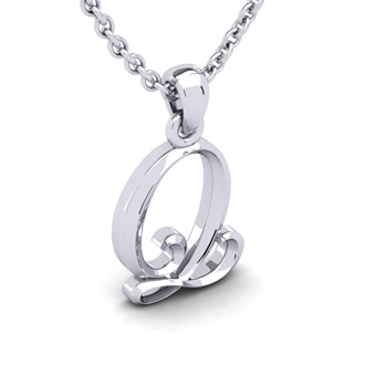Q Swirly Initial Necklace In Heavy 14K White Gold With Free 18 Inch Cable Chain
