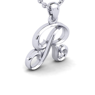 R Swirly Initial Necklace In Heavy 14K White Gold With Free 18 Inch Cable Chain