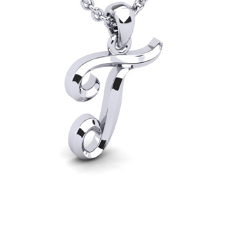 T Swirly Initial Necklace In Heavy 14K White Gold With Free 18 Inch Cable Chain